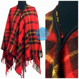 vtg Tartan Plaid Stadium Blanket Poncho Cape